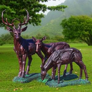 Комплект садовых фигур Олени под бронзу